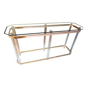 Vintage Charles Hollis Jones Attributed Lucite Brass Console Table Entry Sofa