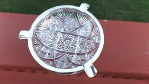 Black Starr And Frost Sterling Silver American Brilliant Cut Crystal Ashtray
