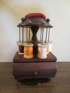 American 19th Century Wooden Spool Holder With Drawer And Pin Cushion On Top