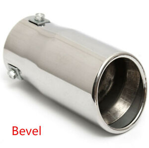 Chrome Oval Exhaust Tip Stainless Car Muffler Tail Pipe 58mm Inlet Universal Usa