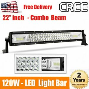 32inch Cree Led Work Light Bar Lamp Flood Spot Combo Offroad Driving 4wd Suv Atv