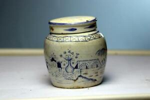 Antique Chinese Blue White Porcelain Ginger Jar With Lid