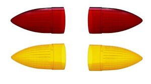 set 4 Pair Red Tail Lights Pair Amber Replacement Lenses For 1959 Cadillac