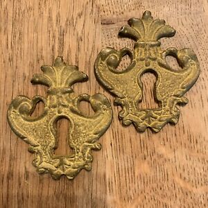 Pair Of Antique Brass Escutcheon Key Hole Covers