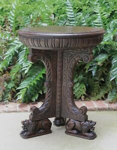 Antique French Oak Round Renaissance Lion Footed Pedestal End Occasional Table