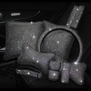 Rhinestones Crystal Car Seat Belt Cover Pad Neck Pillow Waist Support Steering
