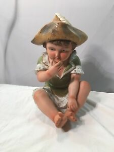 Porcelain Piano Baby Pirate Hat With Feather Green Dress