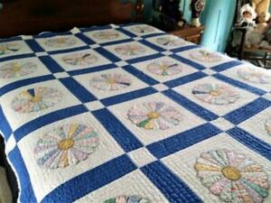 Vintage 1930s Dresden Plate Quilt Sweet Florals Novelty Fabric 68x86