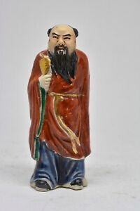 Early Chinese Bisque Porcelain Immortal Figurine 4 Inches Tall