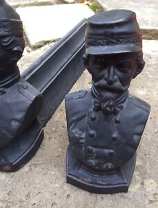 Antique Cast Iron Circa 1800s Andirons Fire Dogs French Soldier 8 Tall