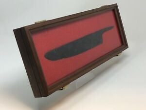 7 X 18 X 2 Walnut Wood Display Case Perfect For Knives Arrowheads Collectibles