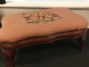 Vintage Needlepoint Footstool Foot Stool Wooden Floral Wild Rose Daisy Violet