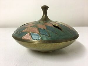 Vintage Mid Century Modern Mosaic Brass Dish Multi Colored Candy Tray Tabletop