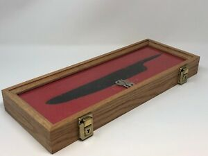 7 X 18 X 2 Oak Wood Display Case Perfect For Knives Arrowheads Collectibles