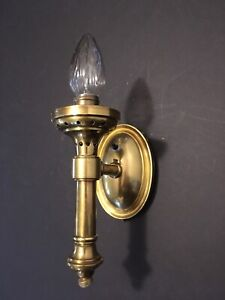 Vintage Torch Wall Light Sconce Solid Brass Electric Button Switch