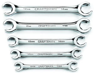 Craftsman 5pc Piece Mm Metric Line Flare Polished Flair Nut Wrench Set 9mm 18mm