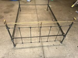 Antique Cast Iron Brass Single Bed Head Foot Boards With 2 Bed Rails