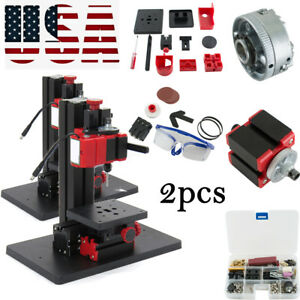 2x6in1portable Multifunction Drilling Sanding Wood turning Lathe Milling Machine