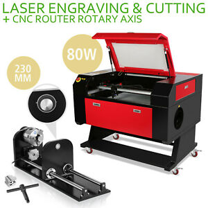 80w Co2 Laser Engraving Cutter Kit Rotary A axis 700x500mm 230mm Track Auxiliary