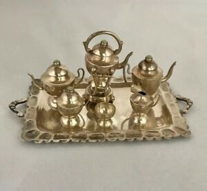 Antique Sterling Silver Miniature Tea Coffee Set Bead Finials W Tray 8 Pc Mexico
