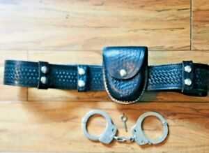 Basket Weave Leather Security Police Belt W Handcuff And Pouch Size 38 42