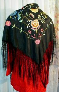 Vintage Piano Scarf Shawl Black With Embroidered Floral 37 X 37 Plus 12 Fringe