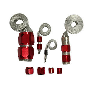 Red Radiator Vacuum Fuel Stainless Steel Braided Hose Kit For Engine Dress Up