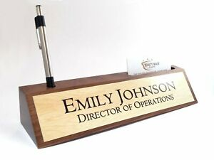 Desk Name Plate Card Pen Holder Walnut Wood Light Wood Color Aluminum Plate