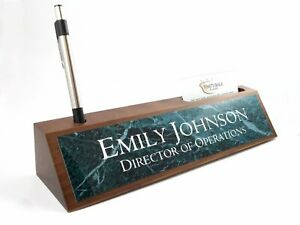 Desk Name Plate Card Pen Holder Walnut Wood Green Marble Look Aluminum Plate