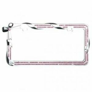 Double Row Pink Bling Bow And Ribbon Chrome License Plate Frame