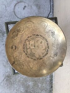 Vintage Antique Asian Brass Bronze Heavily Engraved Dragon Plate Charger China