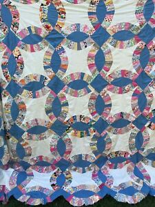 Vintage Double Wedding Ring Quilt Top Hand Pieced Blue White Flour Sack Fabric
