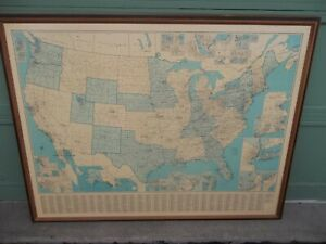 Vtg Classroom Framed Cleartype Lam O Tex Usa Map County Town 53 3 4 X 41 1 4