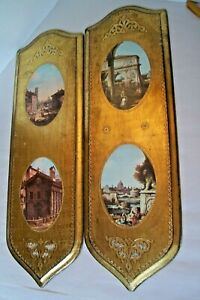 Ex Large Gold Gilt Wood Italian Florentine 2 Picture Plaques