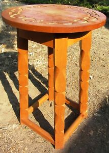 Unusual Cool Vintage Arts And Crafts Mission Table W Engraved Design On Top