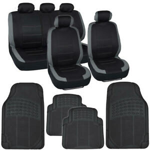 Full Car Seat Covers Rubber Floor Mats Set Gray Black Universal Auto Truck Suv