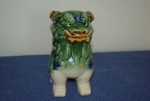 Vintage Chinese Asian Glazed Ceramic Foo Dragon Dog Statue Green Brown White