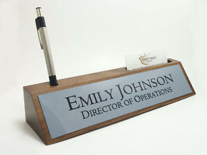 Desk Name Plate Card Pen Holder Walnut Wood With Gray Aluminum Color Plate