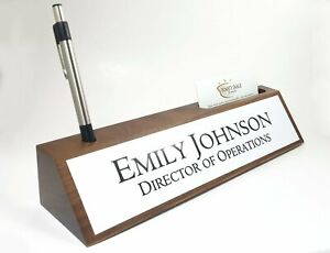 Desk Name Plate Card Pen Holder Walnut Wood With Gloss White Aluminum Plate