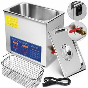 Stainless Steel 10l Liter Industry Heated Ultrasonic Cleaner Heater W Timer Top