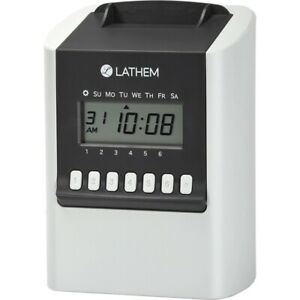 Lathem 700e Calculating Electronic Time Clock Card Punch stamp 100 Employees