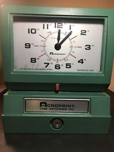 Acroprint 01 2070 40a Model 150er3 Heavy duty Automatic Print Time Recorder