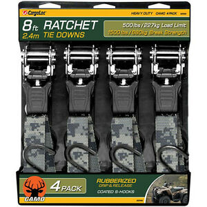 4 Pc 8 Camo Ratchet Tie Down Strap Cargo Tow Ratcheting Camouflage Heavy Duty