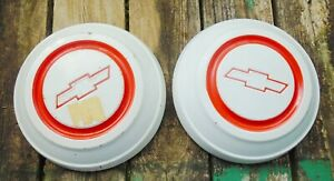1967 68 Chevy White Hub Caps Dog Dish With Red Trim Set Of 2 10 1 2 Truck