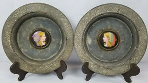 Antique Victorian Heavy Plates Egyptian Revival Painted Plaques C1900