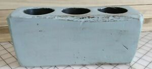 Vintage 3 Hole Wooden Sugar Mold Candle Holder Primitive Country Farmhouse Blue