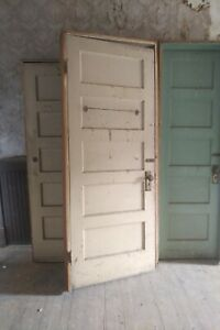 Antique Interior 5 Panel Solid Wood Doors In Jamb All Molding Both Sides