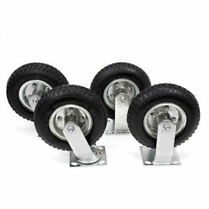 4pcs 8 Casters Pneumatic Tool Car Rubber Wheels Black Capacity 300lbs Steel