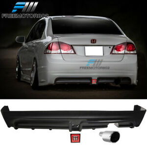Fits 06 11 Civic Mugen Rear Bumper Lip Diffuser Led Brake Light Muffler Tip