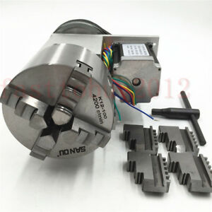 4th Axis Rotary Table Hollow Shaft Cnc Router Rotational Axis 4 Jaw Chuck 100mm